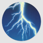 Lightning bolt over blue background round stickers