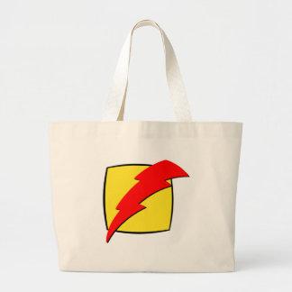 Lightning bolt retro look super hero logo canvas bag