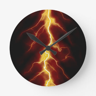 Lightning Bolt Round Clock