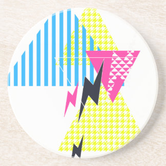 Lightning Bolt Triangle Flash 80's Coaster