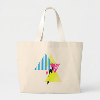 Lightning Bolt Triangle Flash 80's Large Tote Bag