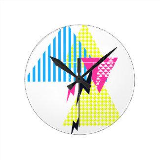 Lightning Bolt Triangle Flash 80's Round Clock