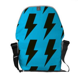 Lightning bolts blue black courier bag