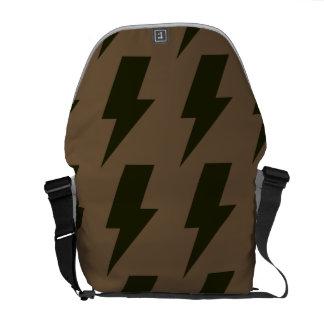 Lightning bolts brown black messenger bags
