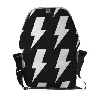 Lightning bolts bw courier bag