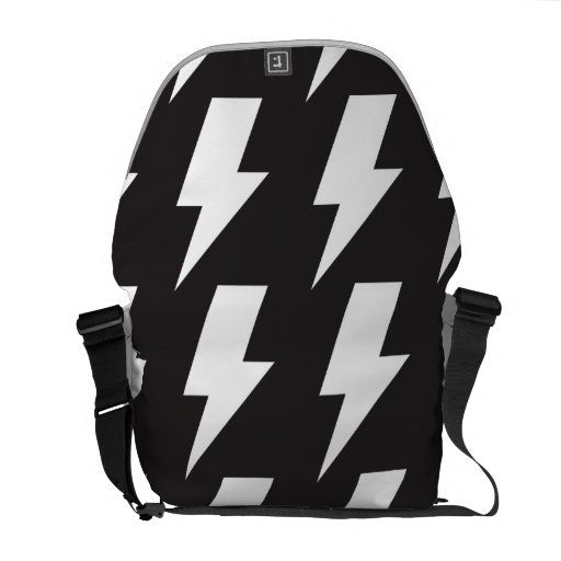 Lightning bolts bw courier bag