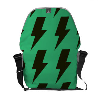 Lightning bolts green black messenger bags