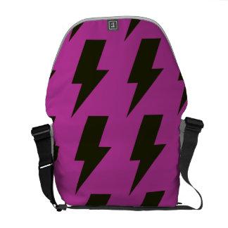 Lightning bolts magenta black courier bags