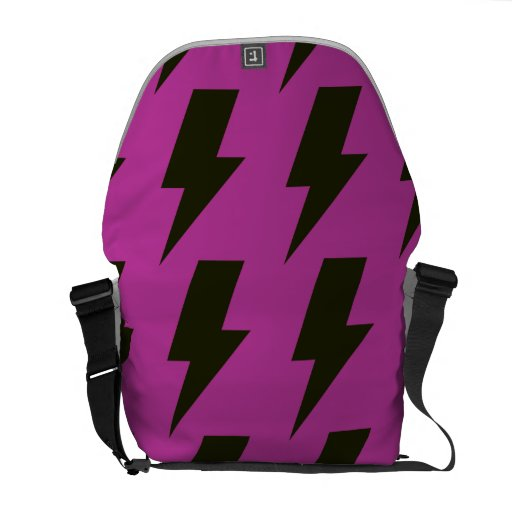 Lightning bolts magenta black courier bags