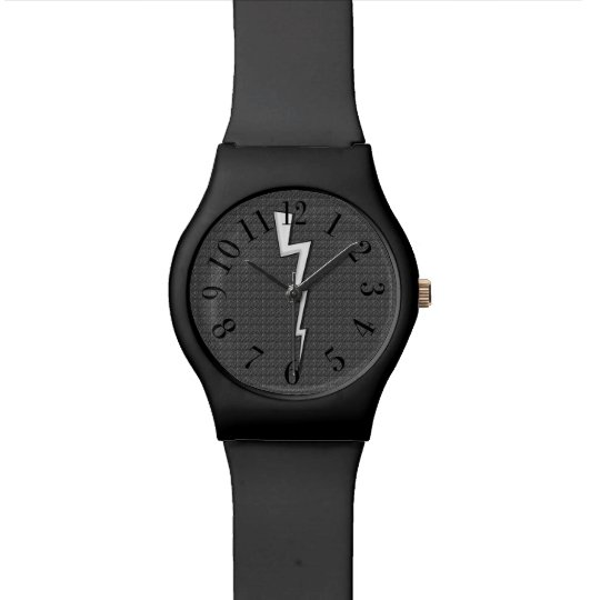 Lightning Bolts on Faux-Texture Grey Black Watch