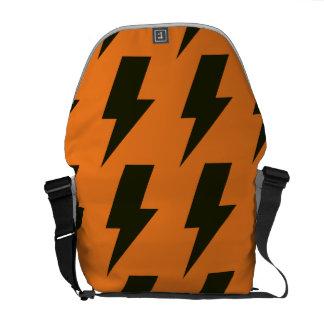 Lightning bolts orange black commuter bag