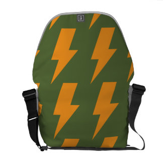 Lightning bolts orange green messenger bag