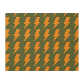 Lightning bolts orange green wood print