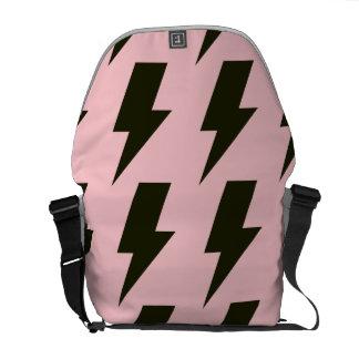 Lightning bolts pink black courier bag