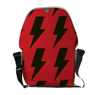 Lightning bolts red black courier bag
