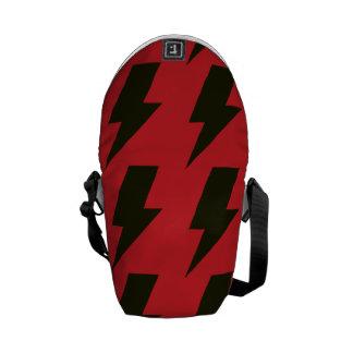 Lightning bolts red black messenger bag