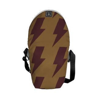 Lightning bolts tan brown messenger bags