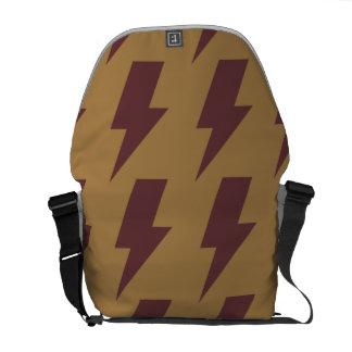 Lightning bolts tan brown messenger bag
