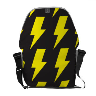 Lightning bolts yellow black courier bag