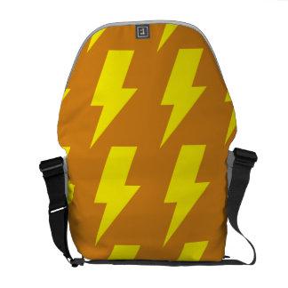 Lightning bolts yellow orange messenger bags