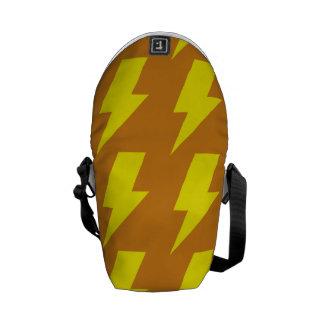 Lightning bolts yellow orange courier bag