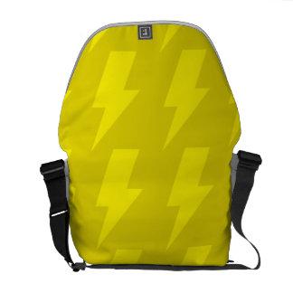 Lightning bolts yellows messenger bags