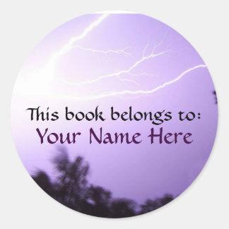 Lightning Book Label Round Sticker