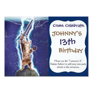 Lightning Cat 13 Cm X 18 Cm Invitation Card