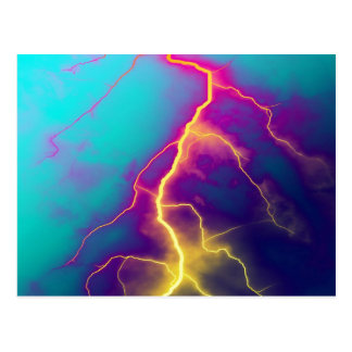 lightning color art postcard