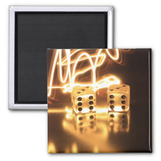 Lightning Dice Square Magnet