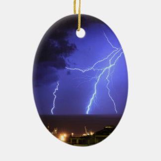 Lightning in Genoa, Italy Christmas Ornament