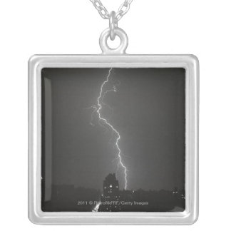 Lightning over city silver plated necklace
