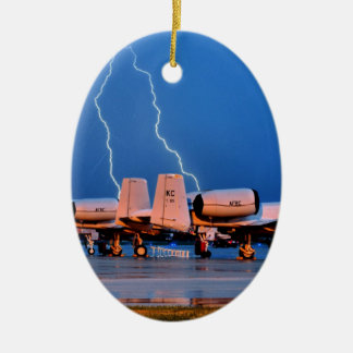 Lightning over fighter Jets Ceramic Oval Decoration
