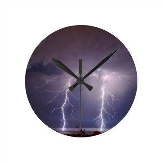 Lightning over Half Moon Bay Round Wall Clocks