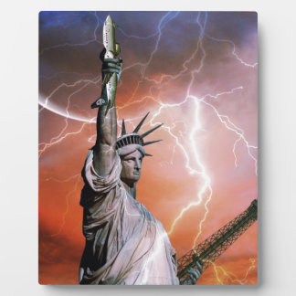 Lightning over Liberty Photo Plaque