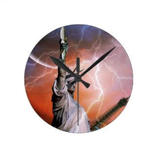Lightning over Liberty Wallclocks