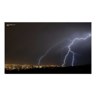 Lightning Over Salt Lake City Print