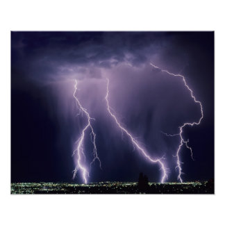 Lightning over Salt Lake Valley, Utah. Posters