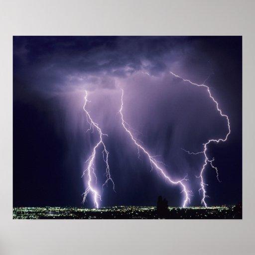 Lightning over Salt Lake Valley, Utah. Posters