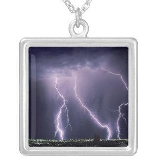 Lightning over Salt Lake Valley, Utah. Silver Plated Necklace