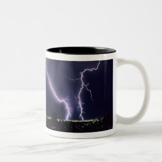 Lightning over Salt Lake Valley, Utah. Two-Tone Coffee Mug