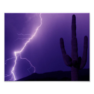 Lightning over South Mountain Poster