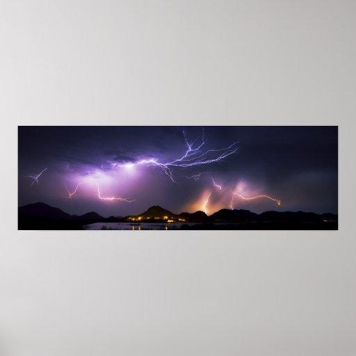 "Lightning Panorama 36""x11.75"" Print"