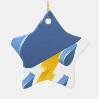Lightning Rain Cloud Weather Icon Concept Christmas Ornament
