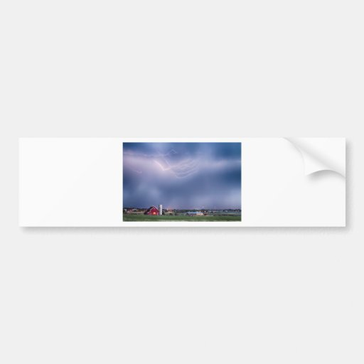 Lightning Storm And The Big Red Barn Bumper Stickers