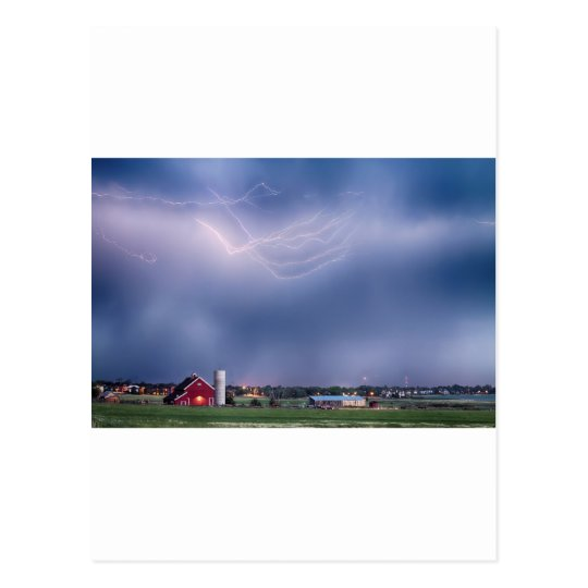 Lightning Storm And The Big Red Barn Postcard