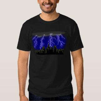 Lightning Storm City Skyline Tees