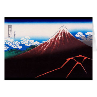 Lightning Storm Mt Fuji Hokusai Japanese Fine Art Note Card