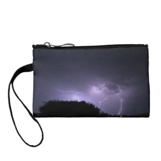 Lightning storm on purple sky coin wallet