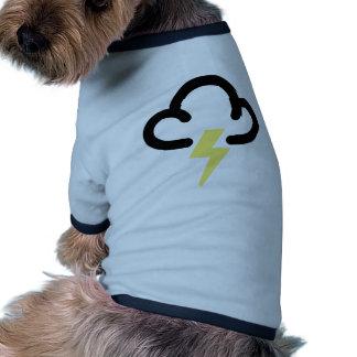 Lightning storm retro weather forecast symbol doggie shirt